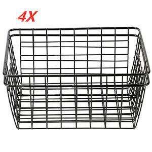 4 Pcs kitchen Iron Storage Basket Desk Metal Wire Mesh Basketry Bathroom Tray UK