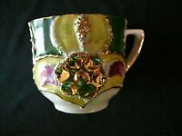 Antique Victorian German Demitasse Cup Gold & Floral Raised, Excellent