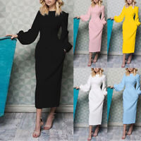 Women Winter Spring Long Sleeve Casual Party Lantern Sleeve Solid Long Dresses B