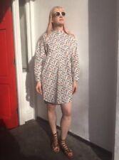 Pure Cotton Button Down Flower Shirt Dress Handmade New Size 10 12 14 S M L