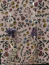 Quirky Genuine Amethyst Chip Hare Earrings . Sterling Silver Wires.
