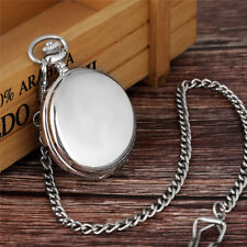 Fashion Silver Smooth Men Women Analog Quartz Pocket Watch FOB Chain Gift