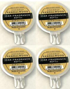 Bath & Body Works Scentportable Car Fragrance Refill Coconut Sandalwood Lot of 4