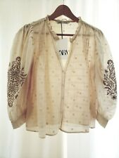 Zara Women Ruffled Embroidered Beige Blouse 100% Cotton Size Small NWT