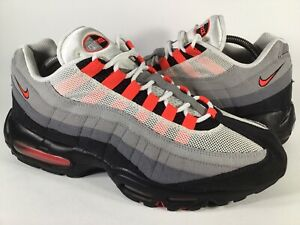 Nike Air Max 95 Solar Red Wolf Grey Black White Mens Size 10.5 Rare 609048-106
