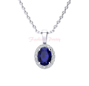 """1 3/4 Carat Oval Shape Sapphire and Halo Diamond Necklace In 14K White Gold, 18"""""""