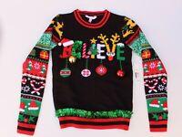 NOBO Ugly Christmas Sweater Juniors L Believe Black W/ Bells Ornaments & Tinsel
