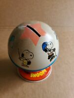 Vintage 1958 Ohio art Peanuts Snoopy Sport Metal  Coin Bank