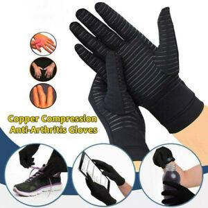 Full Finger Compression Gloves Copper Arthritis Glove Non-Slip Silicone Gel E1D9