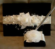 "Black Satin ""Ebony & Ivory Rose"" Wedding Guest Book & Pen Set"