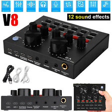 V8 Audio USB Headset Microphone Webcast Live Sound Card External for Phone PC
