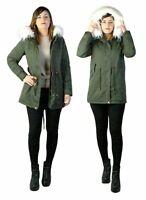 Parka donna Verde Giubbotto invernale cappuccio pelliccia Cappotto Lungo SLIM