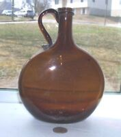 VERY NICE OVAL HANDLE FREE BLOWN PONTIL FLASK - 1850'S PERIOD