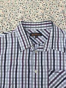 BEN SHERMAN - Plum-Black-Grey-White - Check - Cotton - Button Cuff - Shirt - XXL