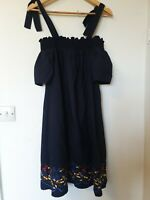 M&S Baby Doll Smock Embroidered Hemline Flower Off Shoulder Dress Size 10
