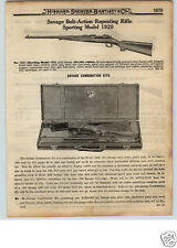 1922 PAPER AD Savage Bolt Action Repeating Rifle Kit Remington Model 30 .30 Cal