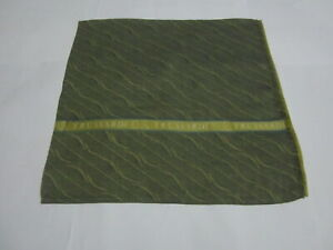 "USED TRUSSARDI YELLOW BROW WAVE PATTERN COTTON 17""POCKET SQUARE HANDKERCHIEF MEN"