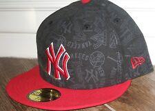 NEW YORK YANKEES FITTED ERA HAT CAP LID 7 3/4 TONAL BLACK RED ERA NWT 59/50