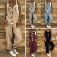 ZANZEA Damen Ärmellos Overall Haremhose Baumwolle Linen Freizeit Hose Pants Mode