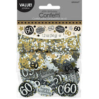 60th Birthday Confetti Table Decoration Sprinkle Black Silver Gold Age 60 Party