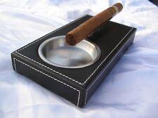 Posacenere in pelle e acciaio  nera porta cenere sigari e sigarette posa cenere