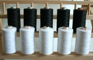 LARGE WHITE & BLACK 3PLY 1000M QUILTING SEWING THREAD