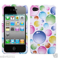 Apple iPhone 4 4S Snap-On Hard Case Cover Rainbow Bubbles