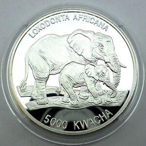 Zambia 5000 Kwacha 1999 Silver Proof Endangered Wildlife Elephant mother & Calf