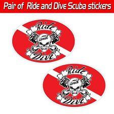 "Ride & Dive scuba decal toolbox biker skull graphic mechanic dive sticker 3""x5"""