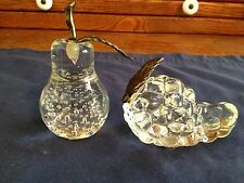 Pair Of Clear Glass Pear & Grape Paperweights, Metal Leaf & Stem, Bubbles