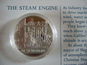 THE STEAM ENGINE MANKIND INVENTIONS HALLMARKED SILVER PROOF MEDAL BY J PINCHES