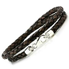 Braided Double Wrapped Leather & Sterling Silver Bracelet-5mm Antique Brown