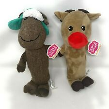 Leaps & Bounds Squeaky Dog Toys Playmates Moose & Red Nosed Reindeer - Lot of 2