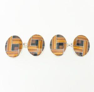 Deakin & Francis Sterling Silver Gold & Brown Enamel Cufflinks