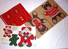 Christmas Bear Teddy Bears Fabric Panels Cut Outs Beary Picture Book Patches