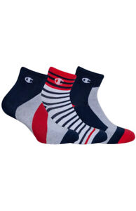 * 3 Pairs * Champion Womens Ankle Socks Y08SW Sports Cotton Mix - White/Blue/Red