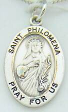 """MRT Saint St Philomena Sterling Silver Protection Medal 7/8"""" w Chain Boxed Gift"""