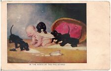 """""""In the Hands of the Philistines"""" Baby and Dachshund Puppies Postcard"""