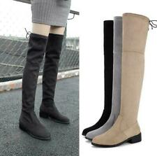 Women Round Toe Low Heel Over Knee High suede Boots Pull On Runway plus size