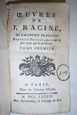 Oevres De J. Racine De L'academie Francoise. Tome Premier. 1786. in French