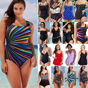 Plus Size Monokini Ladies Push Up Tummy Control Bikini Swimsuit Swim Costume