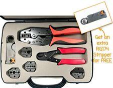 Extra STRIPPER Quick Change RF Coax Crimp Tool Kit Cutter RG8 RG58 RG174 RG213