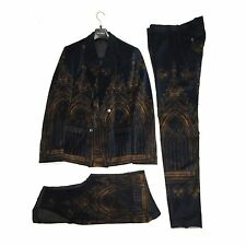 NWT $6.7k Dolce & Gabbana RUNWAY Cathedral Print Velvet 3 Piece Suit AUTHENTIC