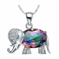 Damen Halskette Silber 925 Luxus Elefanten Anhänger Regenbogen Topas Stein Neu.
