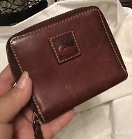 Dooney Bourke Florentine Vachetta Leather Zip Around Wallet Chestnut Brown Pkts