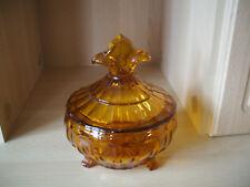 Glas Bonboniere, Deckelschale, Pressglas gelb *alt*