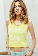 NEW VICTORIA'S SECRET SUNWASHED TERRY CROPPED TANK YELLOW SZ LARGE MSRP $39.50