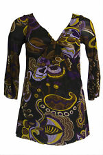 OLIAN Maternity Women's Multi Abstract Print Front Knot Accent Top XS $98 NWT