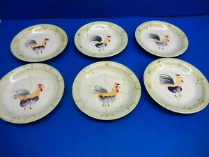 6 SCOTTS OF STOW HAND PAINTED SIDE  PLATES - COCKERELL