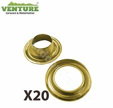 """BRASS EYELETS W4 3/8"""" 9.5 MM  X 20 CARAVAN CAMPING TENT COVER AWNING PARTS 37659"""